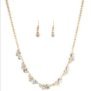 Paparazzi Gold bling necklace and earrings set.